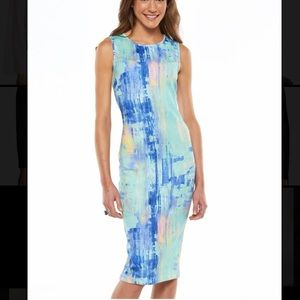 NWT Scuba sleeveless sheath dress modern printed